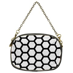 Hexagon2 Black Marble & White Leather Chain Purses (one Side)