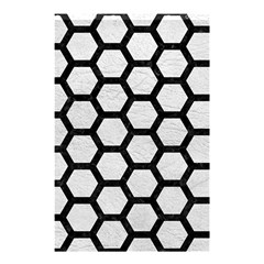 Hexagon2 Black Marble & White Leather Shower Curtain 48  X 72  (small)