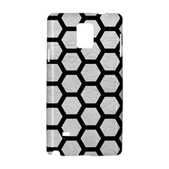 Hexagon2 Black Marble & White Leather Samsung Galaxy Note 4 Hardshell Case