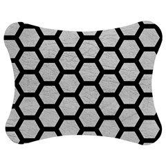 Hexagon2 Black Marble & White Leather Jigsaw Puzzle Photo Stand (bow)