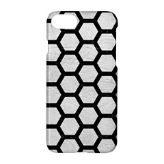 Hexagon2 Black Marble & White Leather Apple Iphone 7 Hardshell Case