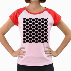Hexagon2 Black Marble & White Leather (r) Women s Cap Sleeve T Shirt