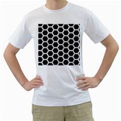 Hexagon2 Black Marble & White Leather (r) Men s T Shirt (white) (two Sided)