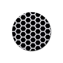 Hexagon2 Black Marble & White Leather (r) Rubber Round Coaster (4 Pack)