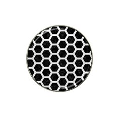 Hexagon2 Black Marble & White Leather (r) Hat Clip Ball Marker (4 Pack)