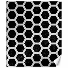 Hexagon2 Black Marble & White Leather (r) Canvas 8  X 10