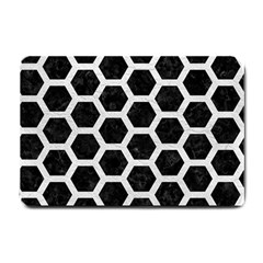 Hexagon2 Black Marble & White Leather (r) Small Doormat