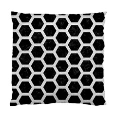 Hexagon2 Black Marble & White Leather (r) Standard Cushion Case (one Side)