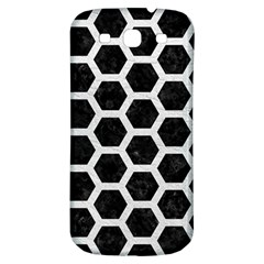 Hexagon2 Black Marble & White Leather (r) Samsung Galaxy S3 S Iii Classic Hardshell Back Case