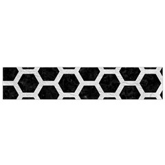 Hexagon2 Black Marble & White Leather (r) Small Flano Scarf