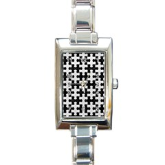 Puzzle1 Black Marble & White Leather Rectangle Italian Charm Watch