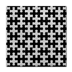 Puzzle1 Black Marble & White Leather Tile Coasters