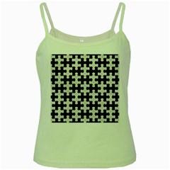 Puzzle1 Black Marble & White Leather Green Spaghetti Tank