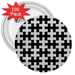 Puzzle1 Black Marble & White Leather 3  Buttons (100 Pack)