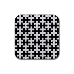 Puzzle1 Black Marble & White Leather Rubber Coaster (square)
