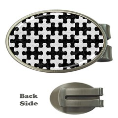 Puzzle1 Black Marble & White Leather Money Clips (oval)