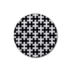 Puzzle1 Black Marble & White Leather Rubber Round Coaster (4 Pack)