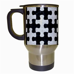Puzzle1 Black Marble & White Leather Travel Mugs (white)