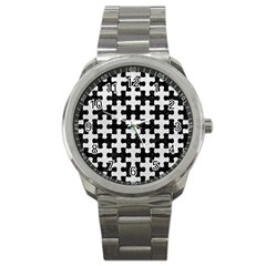 Puzzle1 Black Marble & White Leather Sport Metal Watch