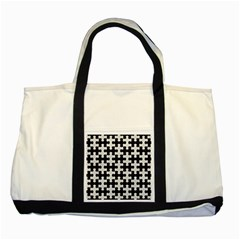 Puzzle1 Black Marble & White Leather Two Tone Tote Bag