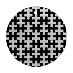 Puzzle1 Black Marble & White Leather Round Ornament (two Sides)