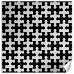 Puzzle1 Black Marble & White Leather Canvas 12  X 12