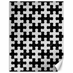 Puzzle1 Black Marble & White Leather Canvas 12  X 16