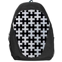 Puzzle1 Black Marble & White Leather Backpack Bag