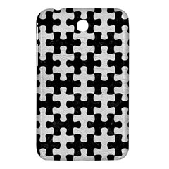 Puzzle1 Black Marble & White Leather Samsung Galaxy Tab 3 (7 ) P3200 Hardshell Case