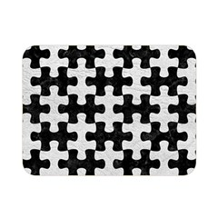 Puzzle1 Black Marble & White Leather Double Sided Flano Blanket (mini)