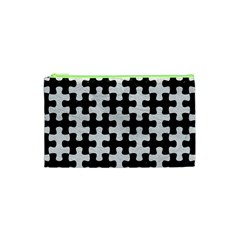Puzzle1 Black Marble & White Leather Cosmetic Bag (xs)