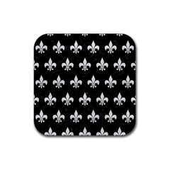 Royal1 Black Marble & White Leather Rubber Square Coaster (4 Pack)