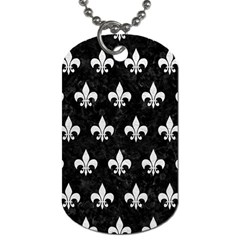 Royal1 Black Marble & White Leather Dog Tag (one Side)