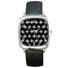 Royal1 Black Marble & White Leather Square Metal Watch
