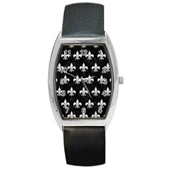 Royal1 Black Marble & White Leather Barrel Style Metal Watch