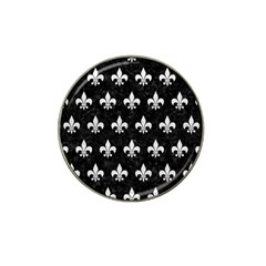 Royal1 Black Marble & White Leather Hat Clip Ball Marker (10 Pack)