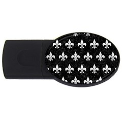 Royal1 Black Marble & White Leather Usb Flash Drive Oval (4 Gb)