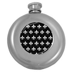 Royal1 Black Marble & White Leather Round Hip Flask (5 Oz)