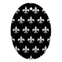 Royal1 Black Marble & White Leather Oval Ornament (two Sides)