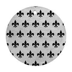 Royal1 Black Marble & White Leather (r) Ornament (round)