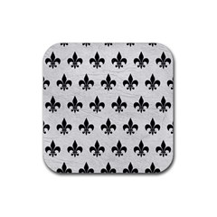 Royal1 Black Marble & White Leather (r) Rubber Coaster (square)