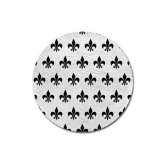 Royal1 Black Marble & White Leather (r) Magnet 3  (round)