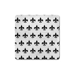 Royal1 Black Marble & White Leather (r) Square Magnet