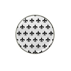 Royal1 Black Marble & White Leather (r) Hat Clip Ball Marker (4 Pack)