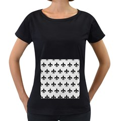 Royal1 Black Marble & White Leather (r) Women s Loose Fit T Shirt (black)