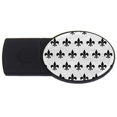 Royal1 Black Marble & White Leather (r) Usb Flash Drive Oval (4 Gb)