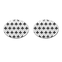 Royal1 Black Marble & White Leather (r) Cufflinks (oval)