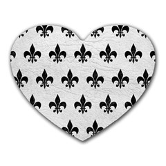 Royal1 Black Marble & White Leather (r) Heart Mousepads