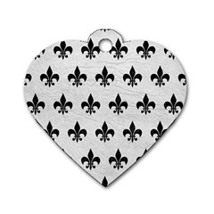Royal1 Black Marble & White Leather (r) Dog Tag Heart (one Side)