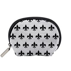 Royal1 Black Marble & White Leather (r) Accessory Pouches (small)